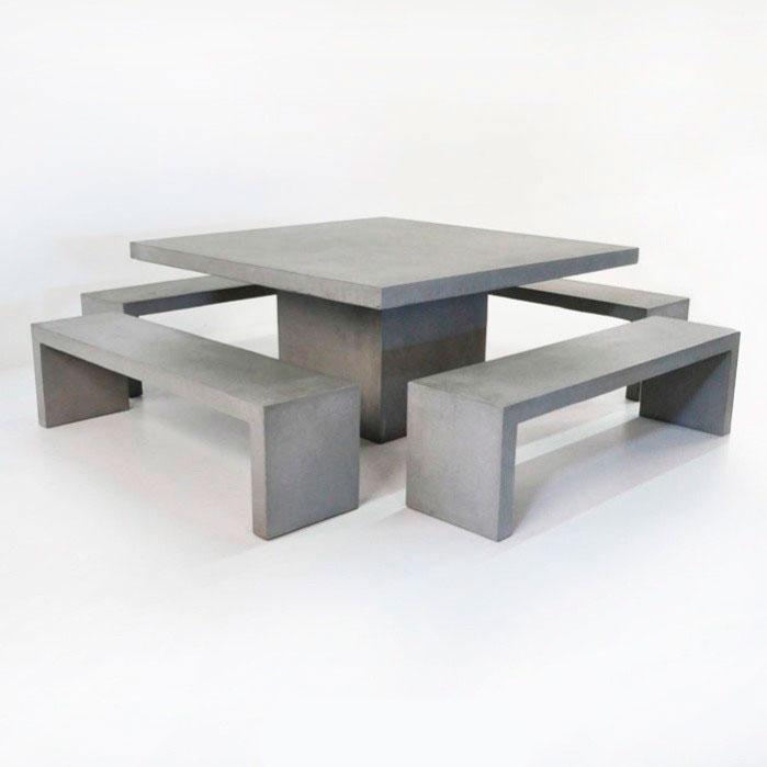 Бетонный стол и скамейки для дачи