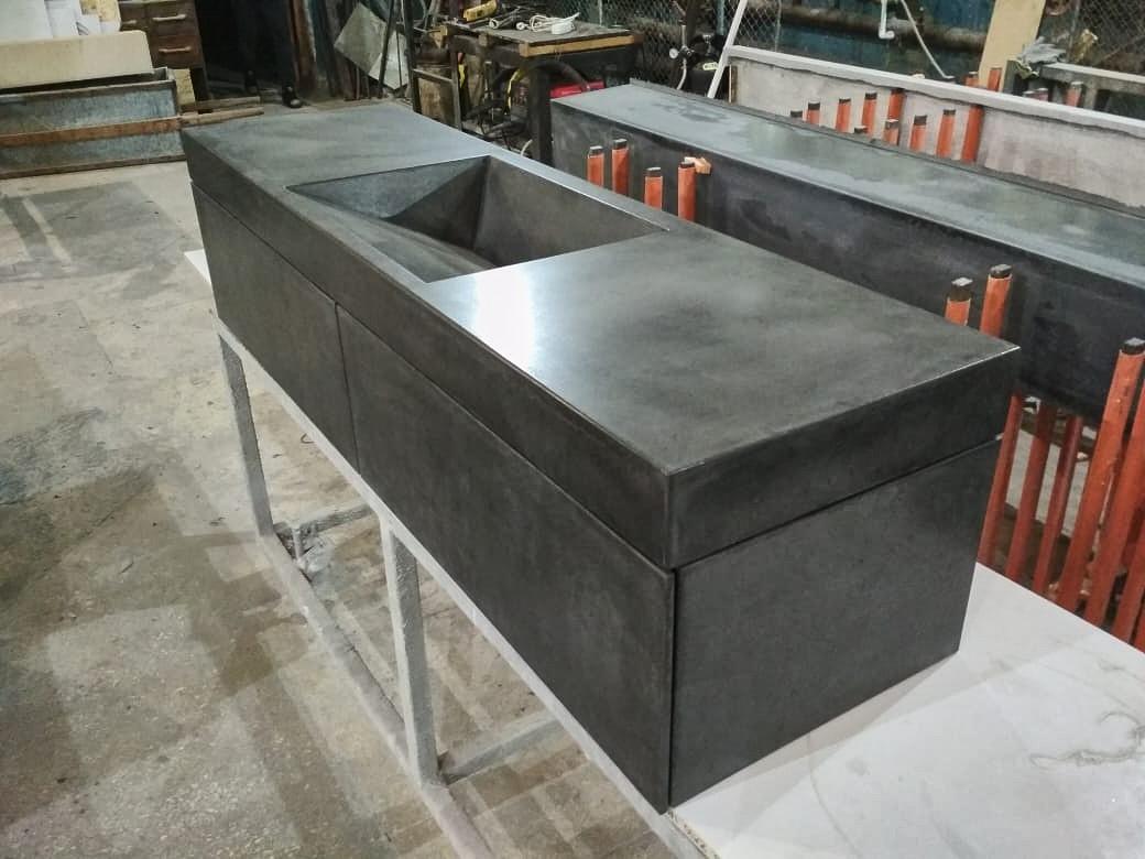 Раковина из бетона подвесная с тумбой