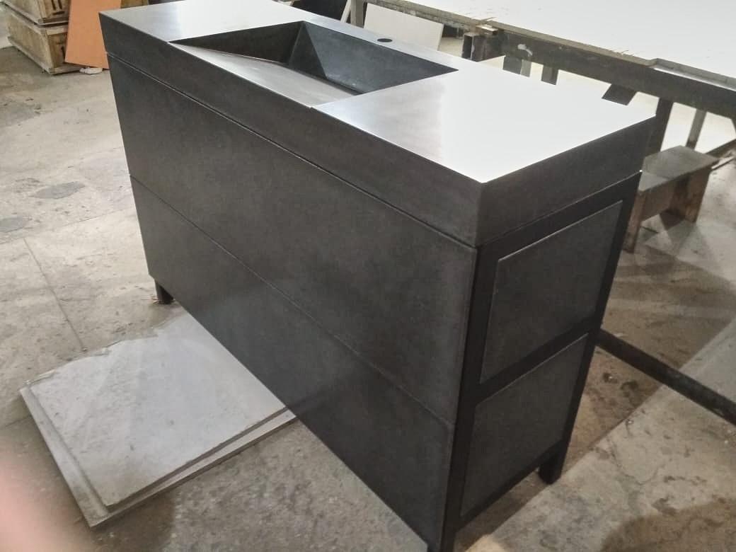 Раковина из бетона напольная с тумбой