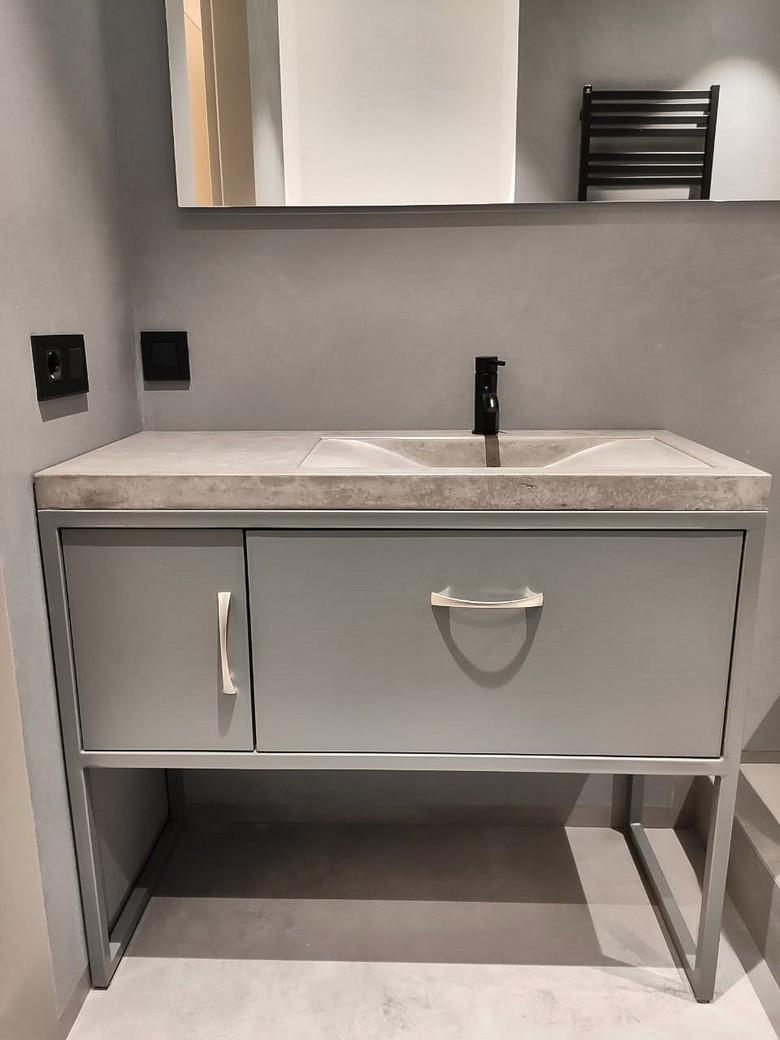 Бетонная раковина с тумбой для ванной комнаты